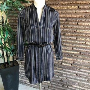 Ann Taylor Navy Blue Striped Shirt Dress Tunic